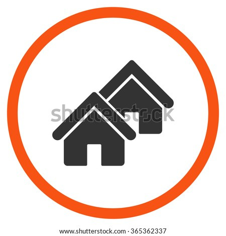 Realty glyph icon. Style is bicolor flat circled symbol, orange and gray colors, rounded angles, white background. - stock photo