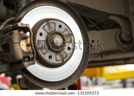 Rear brake system of car. - stock photo