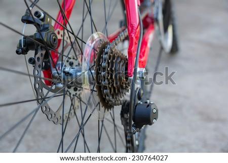 Rear mountain bike wheel detail - stock photo