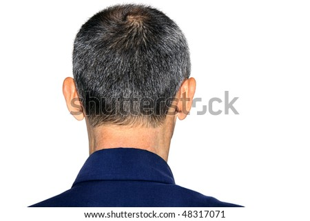 rear of a male head on a white background - stock photo