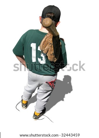 Rear of baseball player holding gear wearing the number thirteen. - stock photo