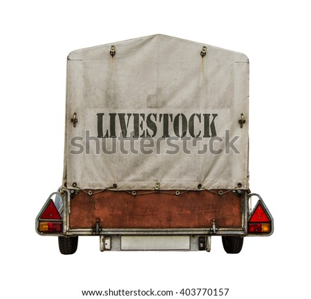Rear Of Towed Trailer With Livestock Sign On Canvas Tarp On White Background - stock photo