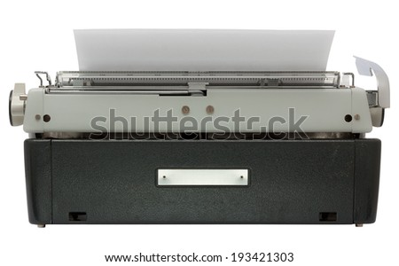 Rear of typewriter with sheet of paper isolated on white background with clipping path - stock photo