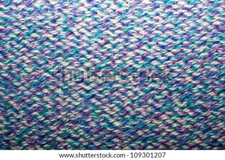 rear side of blue knit pattern - stock photo