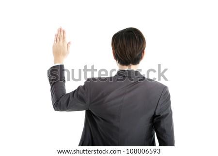 rear view businessman swearing - stock photo