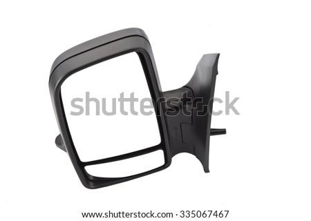 Rear view mirror on white background - stock photo