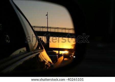 Rear View Mirror Reflection - stock photo
