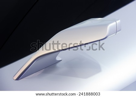 Rear view mirror. Side of concept modern sport racing silver car. - stock photo