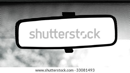 Rear view mirror with clipping path - stock photo