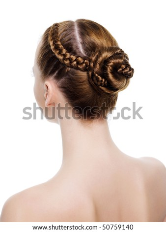 Rear view of a beautiful  coiffure from pigtails. On white background - stock photo