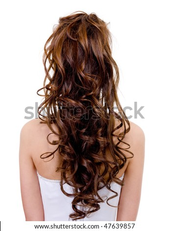 Rear view of a bride with  curly wedding hairstyle - isolated on white - stock photo