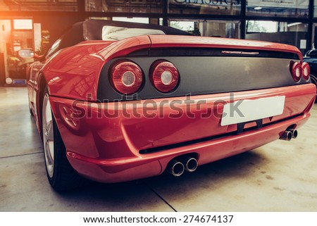 Rear view of a car - stock photo