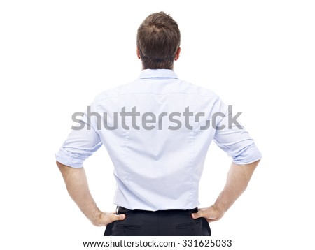 rear view of a caucasian corporate executive, isolated on white background. - stock photo