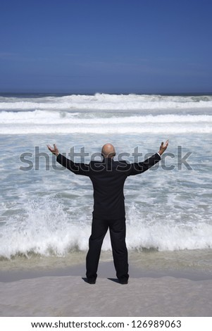 Rear view of a senior businessman standing with arms raised in front of the sea - stock photo