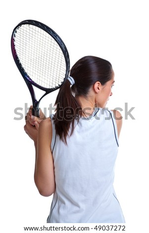 Rear view of a woman tennis player, isolated on a white background. - stock photo