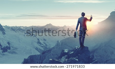 Rear view of businessman looking at sunset - stock photo