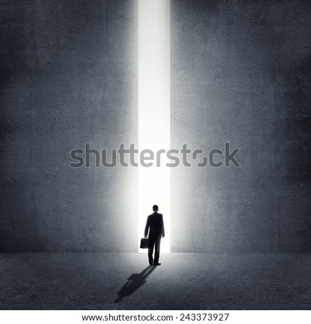 Rear view of businessman standing in light of way - stock photo