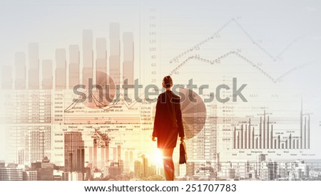 Rear view of businesswoman looking at business strategy sketch - stock photo
