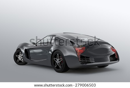 Rear view of metallic gray sports car isolated on gray background. Original design. 3D rendering image. - stock photo