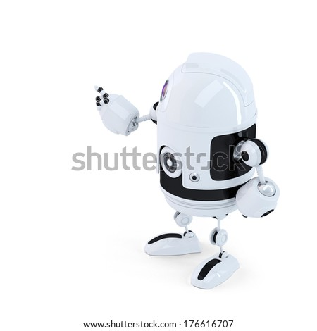 Rear view of robot pointing at invisoble object. Isolated on white background - stock photo