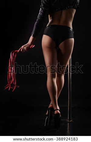 Rear view of sexy female dancer with pink whip - stock photo