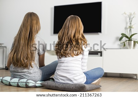 Rear view of siblings watching TV at home - stock photo