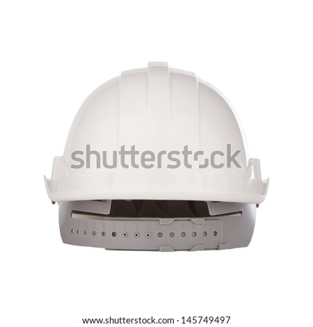 rear view of white safety helmet isolated background - stock photo