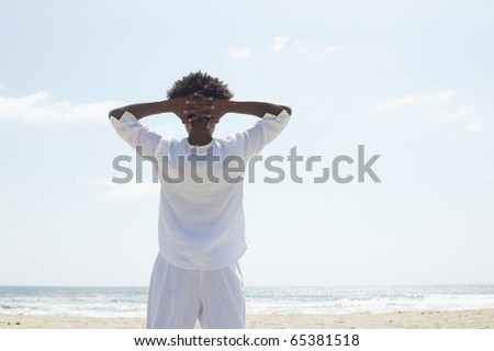 Rear view of woman on beach - stock photo
