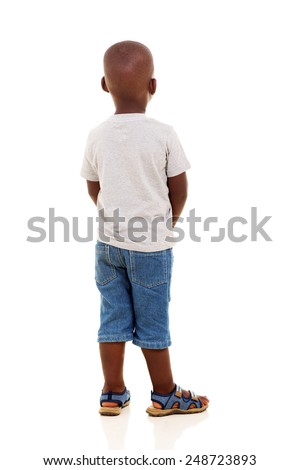 rear view of young african boy isolated on white background - stock photo