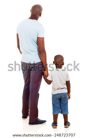 rear view of young african man with his son isolated on white background - stock photo