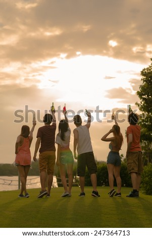 Rear view of young people looking at the sky and raising their beer bottles - stock photo