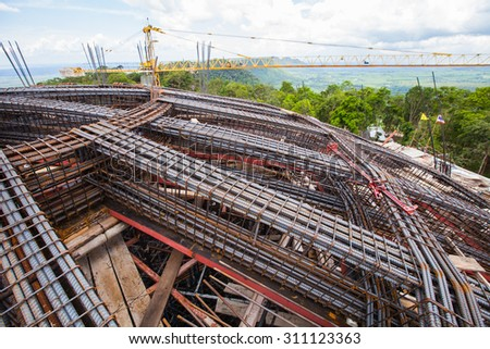 Rebar used for the construction of a building. - stock photo