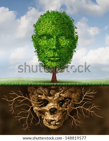 Rebirth and renewal lifestyle concept as a symbol of second chances and personal growth and revival from a crisis as a tree shaped as a human head growing out of toxic soil shaped as a death skull. - stock photo