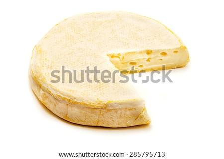Reblochon cheese on a white background - stock photo
