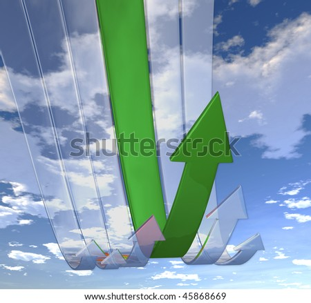 Rebounding Green arrows (on background of blue skies) - stock photo