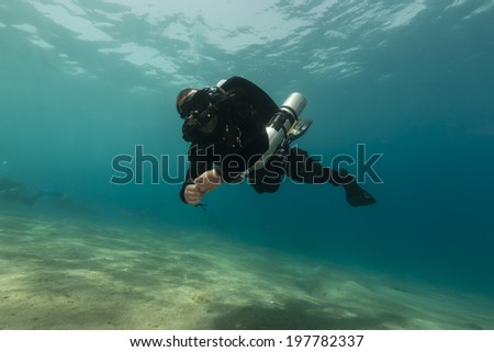 Rebreather diver in the Red Sea - stock photo