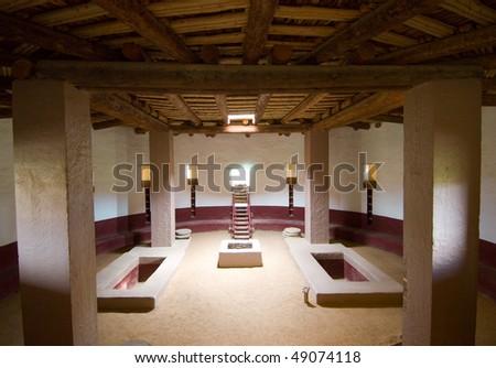 rebuilt native american indian kiva interior - stock photo
