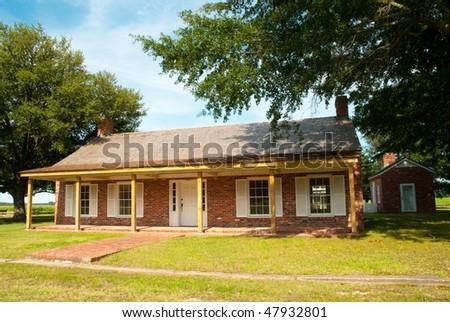 rebuilt town at Arkansas Post State Park - stock photo