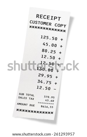 Receipt on isolated white background.(Clipping path) - stock photo