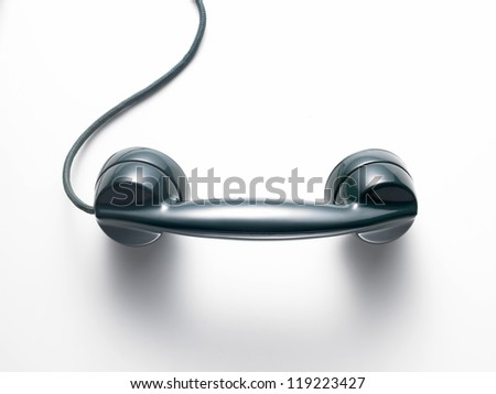 receiver of an old green phone on a white background - stock photo
