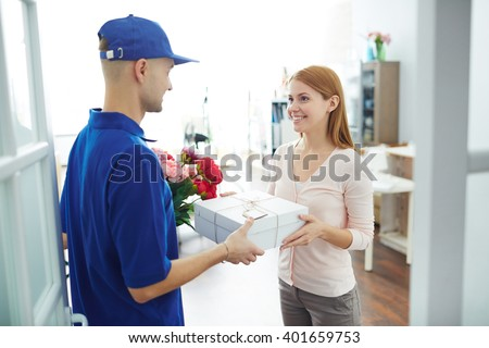 Receiving gift - stock photo