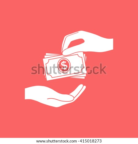 Receiving money banknotes stack icon. Cash stacks money banknotes. - stock photo