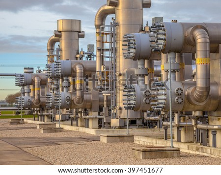 Recently upgraded Modern natural gas field  in the Netherlands - stock photo