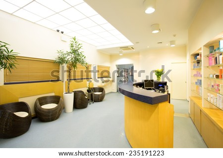 Reception and hall in luxury beauty center - stock photo