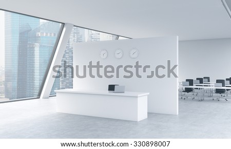 Reception area with clocks and workplaces in a bright modern open space loft office. White tables and black chairs. Singapore panoramic view in the windows. 3D rendering. - stock photo