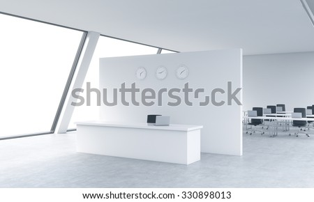 Reception area with clocks and workplaces in a bright modern open space loft office. White tables and black chairs. White copy space in the panoramic windows. 3D rendering. - stock photo