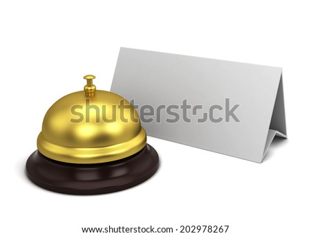 Reception bell and card. 3d illustration isolated on white background - stock photo