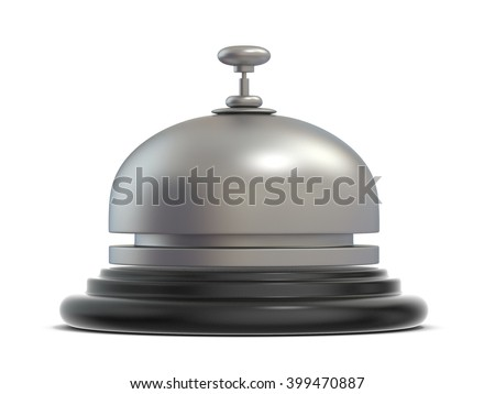 Reception bell. Side view. 3D render illustration isolated on white background - stock photo