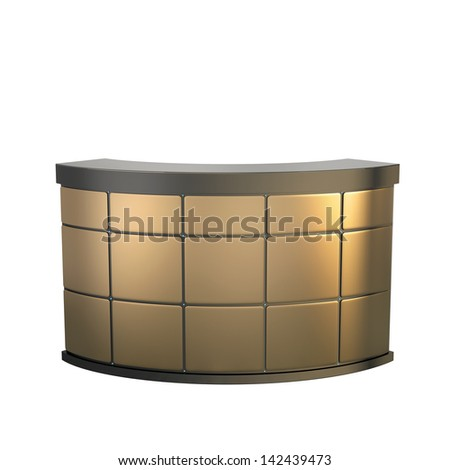 reception counter made of matted golden panels - stock photo