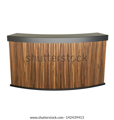 reception counter made of wooden planks isolated on white - stock photo